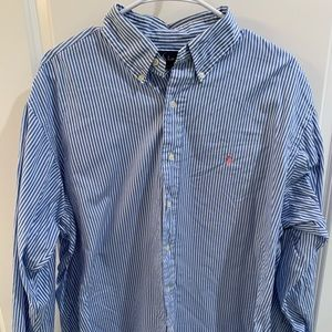 Men's Ralph Lauren Blue w/ White Stripes Button-Up